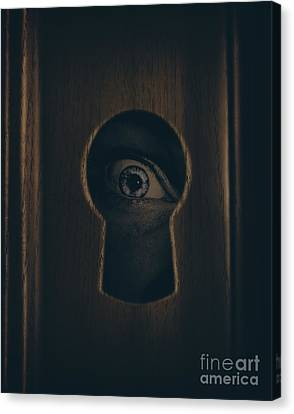 Hiding Canvas Print - Eye Looking Through Door Keyhole by Jorgo Photography - Wall Art Gallery