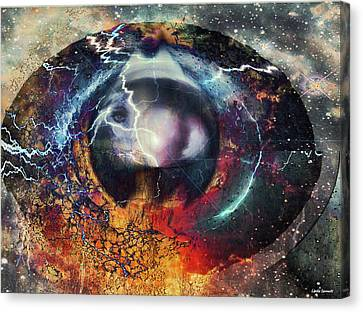 Canvas Print featuring the digital art Eye Of The Storm by Linda Sannuti