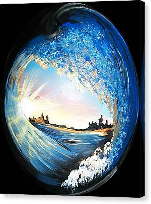 Canvas Print featuring the painting Eye Of The Wave by Sharon Duguay