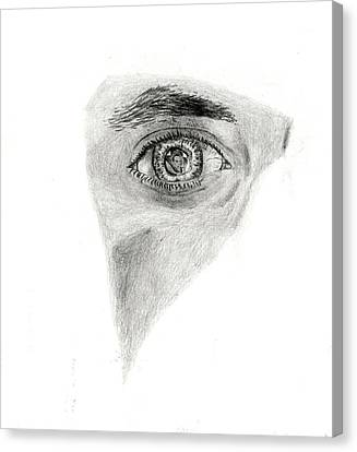 Canvas Print featuring the drawing Eye See My Self by Michael McKenzie