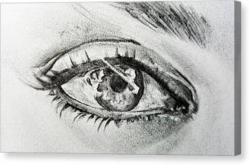 Black And White Human Figure Drawing Canvas Print - Eye See You by Darwin Leon