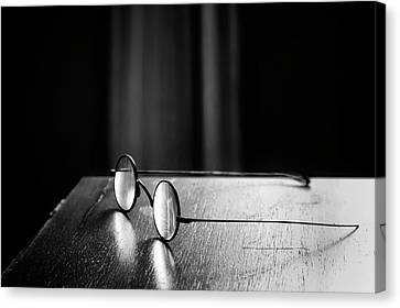 Glass Table Reflection Canvas Print - Eyeglasses - Spectacles by Nikolyn McDonald