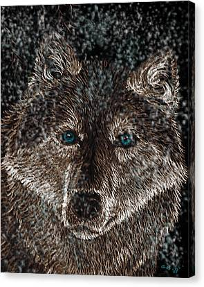 Eyes Of The Snow Wolf Canvas Print