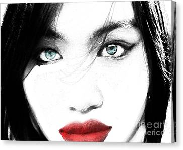 Canvas Print featuring the painting Eyes by Tbone Oliver