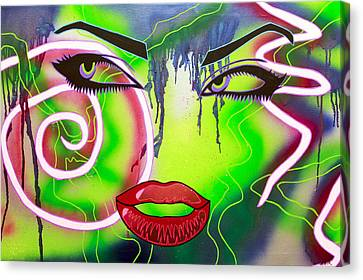 Street Art Canvas Print - Eyes That Could Kill by Bobby Zeik