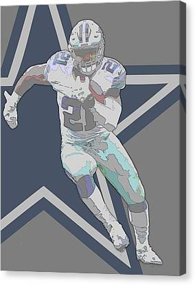Ezekiel Elliott Dallas Cowboys Contour Art Canvas Print