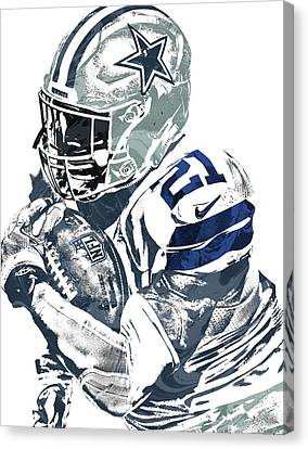 Canvas Print featuring the mixed media Ezekiel Elliott Dallas Cowboys Pixel Art 5 by Joe Hamilton