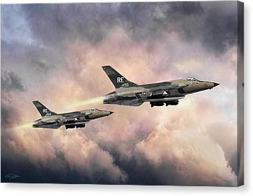 Canvas Print featuring the digital art F-105 Thunderchief by Peter Chilelli