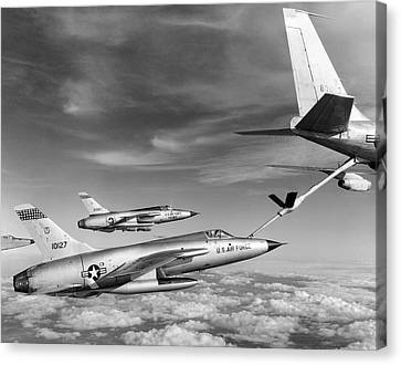 F-105s Refueling In The Air Canvas Print by Underwood Archives