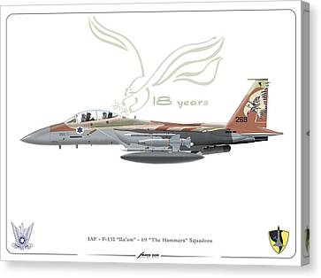 Canvas Print featuring the drawing Israeli Air Force F 15i Ra'am by Amos Dor