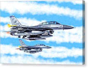 Jet-propelled Canvas Print - F-16 Fighting Falcons In Flight by Mark E Tisdale