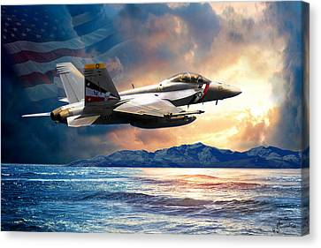 F-18 Canvas Print -  Bounty Hunter Fighter Jet, America The Beautiful by Regina Femrite