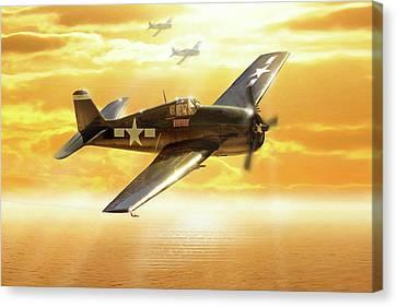 F-6f Hellcat Pacific Sunrise Canvas Print