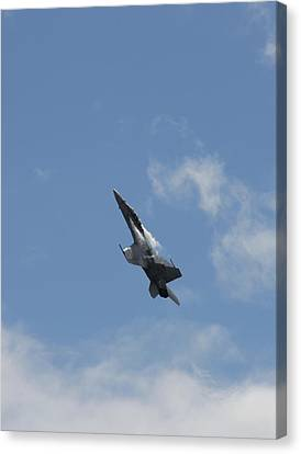 Canvas Print featuring the photograph F/a-18 Fighter Fast Climb by Aaron Berg