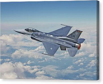 Canvas Print featuring the digital art F16 - Fighting Falcon by Pat Speirs