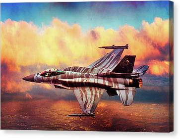 Canvas Print featuring the photograph F16c Fighting Falcon by Chris Lord