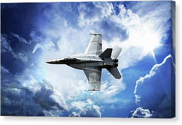 Canvas Print featuring the photograph F18 Fighter Jet by Aaron Berg
