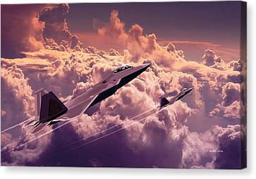 F22 Raptor Aviation Art Canvas Print by John Wills