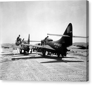 F9f Panther Jets Being Refueled Canvas Print by Stocktrek Images