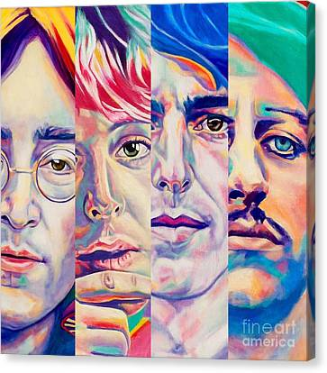 Canvas Print featuring the painting Fab Four by Rebecca Glaze