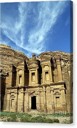 Facade Of Ad Deir An Ancient Rock-cut Monastery In Petra Canvas Print by Sami Sarkis