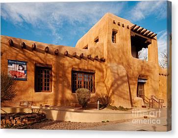 Facade Of New Mexico Museum Of Art II - Santa Fe New Mexico Canvas Print by Silvio Ligutti