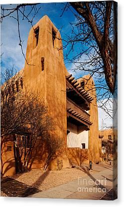 Facade Of New Mexico Museum Of Art - Santa Fe New Mexico Canvas Print by Silvio Ligutti