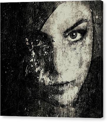 Square Acrylic Canvas Print - Face In A Dream Grayscale by Marian Voicu