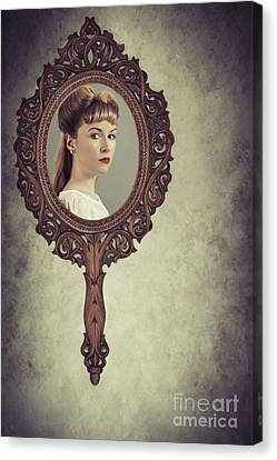 Face In Antique Mirror Canvas Print by Amanda Elwell