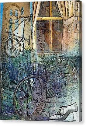 Face In The Window Embossed Montage Canvas Print by Arline Wagner