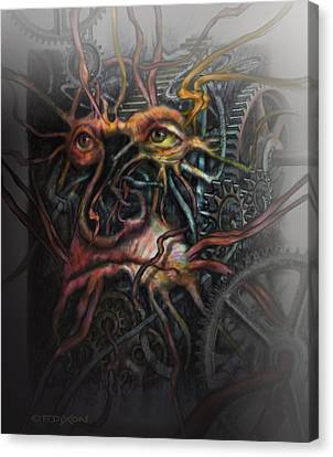 Fantasy Creatures Canvas Print - Face Machine by Frank Robert Dixon