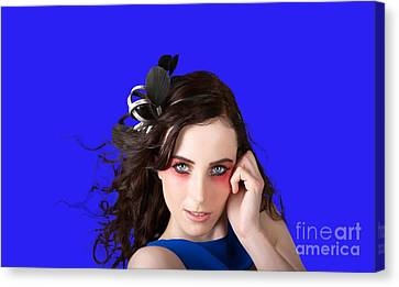 Face Of A Female Beauty With Red Eye Make Up Canvas Print by Jorgo Photography - Wall Art Gallery