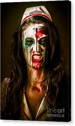 Face Of A Scary Woman In A Horror Nurse Costume Canvas Print by Jorgo Photography - Wall Art Gallery