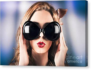 Face Of A Surprised Pinup Girl In Funny Sunglasses Canvas Print by Jorgo Photography - Wall Art Gallery
