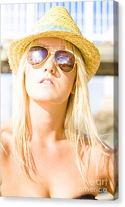 Face Of A Woman In Sunglasses On Holiday Canvas Print by Jorgo Photography - Wall Art Gallery