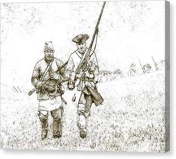 Courage Canvas Print - Face Of Danger Soldier Sketch by Randy Steele