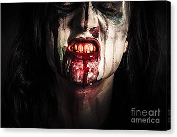 Face Of Dark Vampire Girl With Blood Mouth Canvas Print