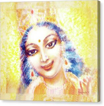 Face Of The Goddess - Lalitha Devi - Light Canvas Print by Ananda Vdovic