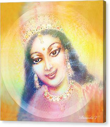 Face Of The Goddess - Lalitha Devi - Rainbow Colors Canvas Print by Ananda Vdovic