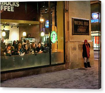 Canvas Print featuring the digital art Faces At The Coffeehouse by Chris Flees