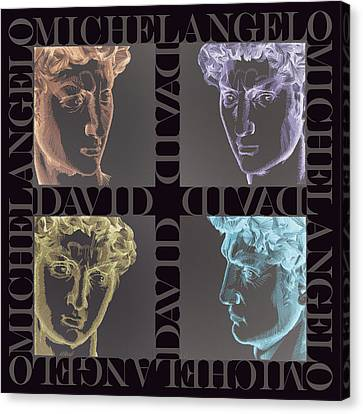 Faces Of David In Negative Canvas Print by Barbara Lugge
