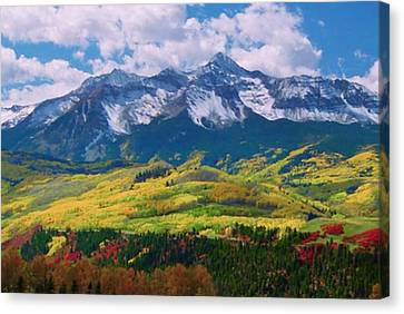 Facinating American Landscape Flowers Greens Snow Mountain Clouded Blue Sky  Canvas Print