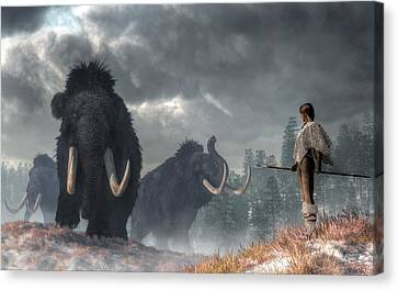 Facing The Mammoths Canvas Print by Daniel Eskridge