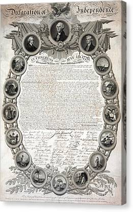 Facsimile Of The Original Draft Of The Declaration Of Independence 1776 Canvas Print by American School