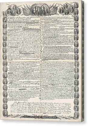 Facsimile Of The Original Draft Of The Declaration Of Independence Canvas Print by American School