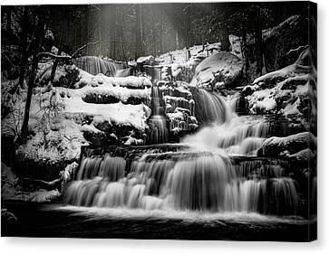Canvas Print featuring the photograph Factory Falls In Winter by Chris Lord
