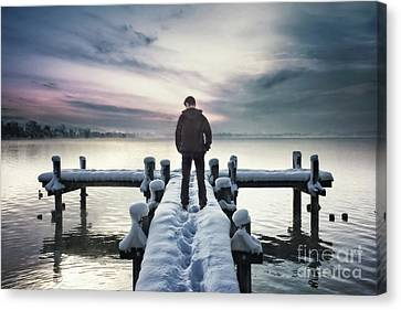 Man Looking Down Canvas Print - Fade Into Winter by Evelina Kremsdorf