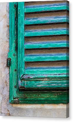 Pencil Sketch Canvas Print - Faded Green Window Shutter by David Letts