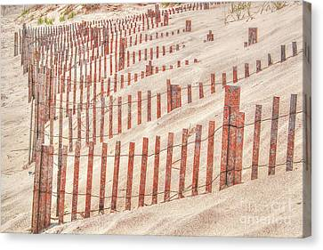 Faded Red Beach Fence  Canvas Print
