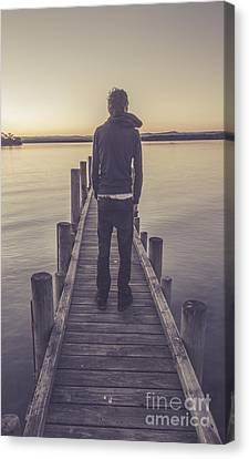 Melancholy Canvas Print - Faded Winter Pier Portrait by Jorgo Photography - Wall Art Gallery